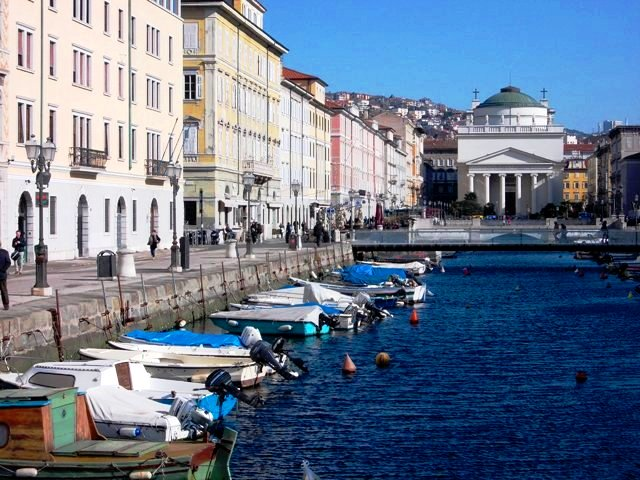 The Canal Grande di Trieste (Grand Canal of Trieste) with the neo-Classical Church of Sant'Antonio Nuova in the background