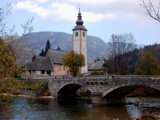 Picturesque Church of St. John the Baptist - Ribčev Laz - at the east/outflow end of Lake Bohinj