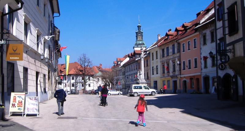 Škofja Loka's main square (Mestni trg) - the epicenter of the (relaxed) workaday rhythms of life